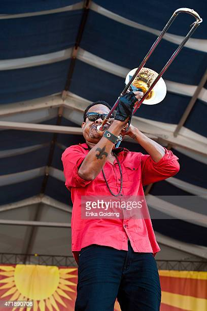 Corey Henry performs with Galactic at Fair Grounds Race Course on May 1 2015 in New Orleans Louisiana
