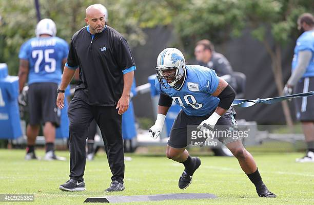 Corey Hilliard of the Detroit Lions goes through the drills during training camp at the Detroit Lions training facility on July 29 2014 in Allen Park...