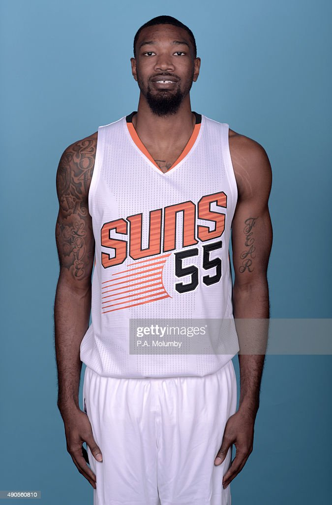Corey Jefferson #55 of the Phoenix Suns poses for a portrait on Media Day on September 28, 2015 at the Talking Stick Resort Arena in Phoenix, Arizona.