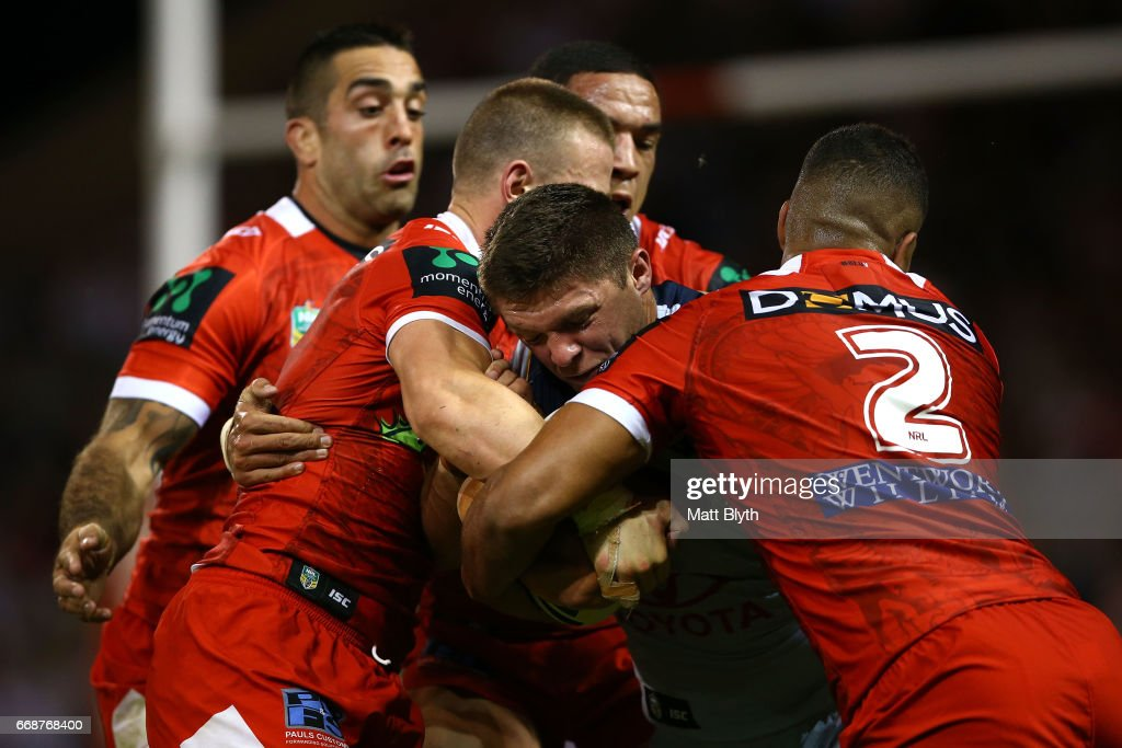 Corey Jensen of the Cowboys is tackled during the round seven NRL match between the St George Illawarra Dragons and the North Queensland Cowboys at WIN Stadium on April 15, 2017 in Wollongong, Australia.