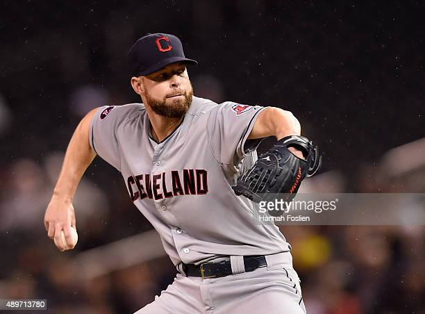 Corey Kluber of the Cleveland Indians delivers a pitch against the Minnesota Twins during the first inning of the game on September 23 2015 at Target...