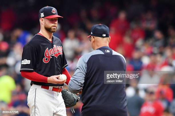 Corey Kluber of the Cleveland Indians is pulled from the game in the third inning against the New York Yankees during game two of the American League...