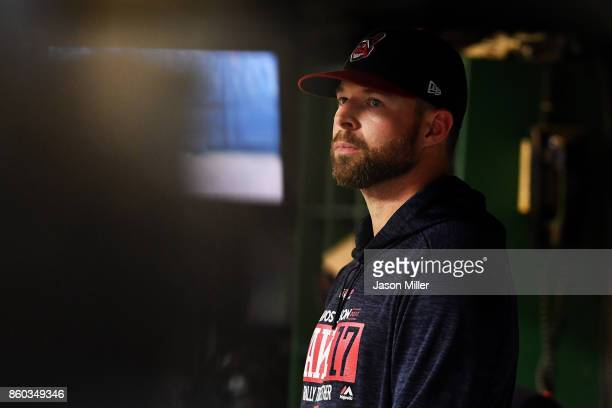 Corey Kluber of the Cleveland Indians looks on from the dugout in the eighth inning against the New York Yankees in Game Five of the American League...