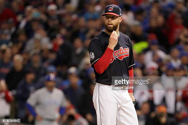 Corey Kluber of the Cleveland Indians looks on from the mound against the Chicago Cubs in Game One of the 2016 World Series at Progressive Field on...