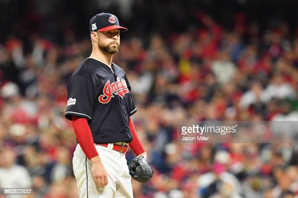 Corey Kluber of the Cleveland Indians looks on in the first inning against the New York Yankees in game five of the American League Divisional Series...