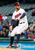 Corey Kluber of the Cleveland Indians pitches against Lorenzo Cain of the Kansas City Royals to record his 500th career strikeout during the sixth...