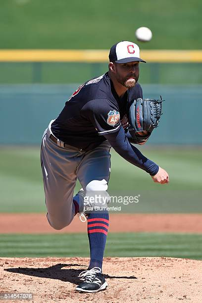 Corey Kluber of the Cleveland Indians pitches against the Chicago Cubs at Sloan Park on March 9 2016 in Mesa Arizona