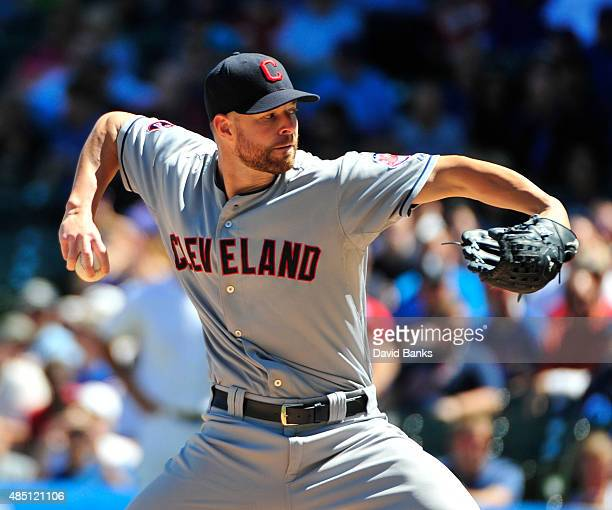 Corey Kluber of the Cleveland Indians pitches against the Chicago Cubs during the first inning on August 24 2015 at Wrigley Field in Chicago Illinois