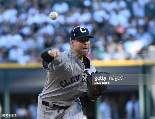 Corey Kluber of the Cleveland Indians pitches against the Chicago White Sox during the first inning on July 29 2017 at Guaranteed Rate Field in...