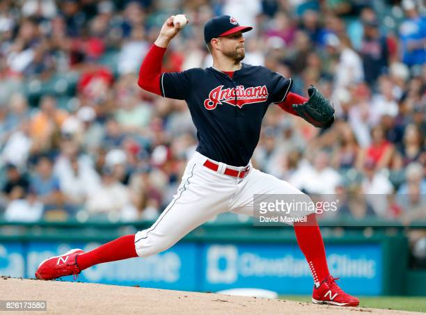 Corey Kluber of the Cleveland Indians pitches against the New York Yankees in the first inning at Progressive Field on August 3 2017 in Cleveland Ohio