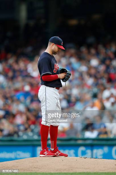 Corey Kluber of the Cleveland Indians pitches against the New York Yankees in the first inning at Progressive Field on August 3 2017 in Cleveland...