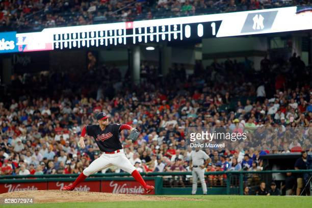 Corey Kluber of the Cleveland Indians pitches against the New York Yankees in the ninth inning at Progressive Field on August 3 2017 in Cleveland...