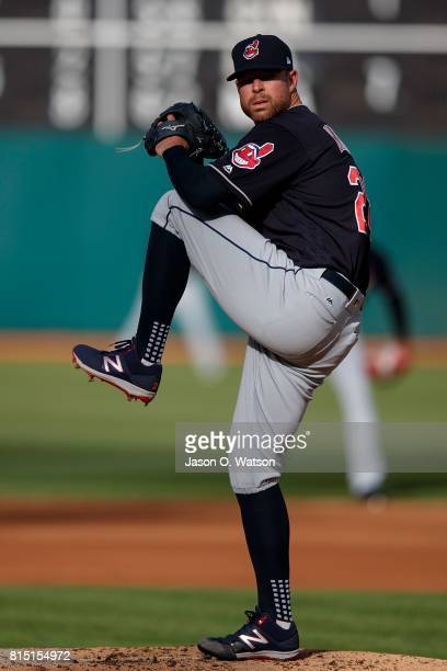 Corey Kluber of the Cleveland Indians pitches against the Oakland Athletics during the first inning at the Oakland Coliseum on July 15 2017 in...