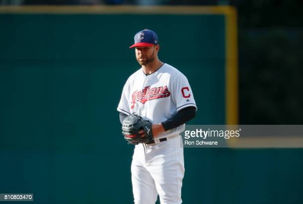 Corey Kluber of the Cleveland Indians pitches against the San Diego Padres during the first inning at Progressive Field on July 4 2017 in Cleveland...