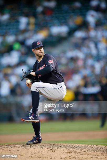 Corey Kluber of the Cleveland Indians pitches during the game against the Oakland Athletics at the Oakland Alameda Coliseum on July 15 2017 in...