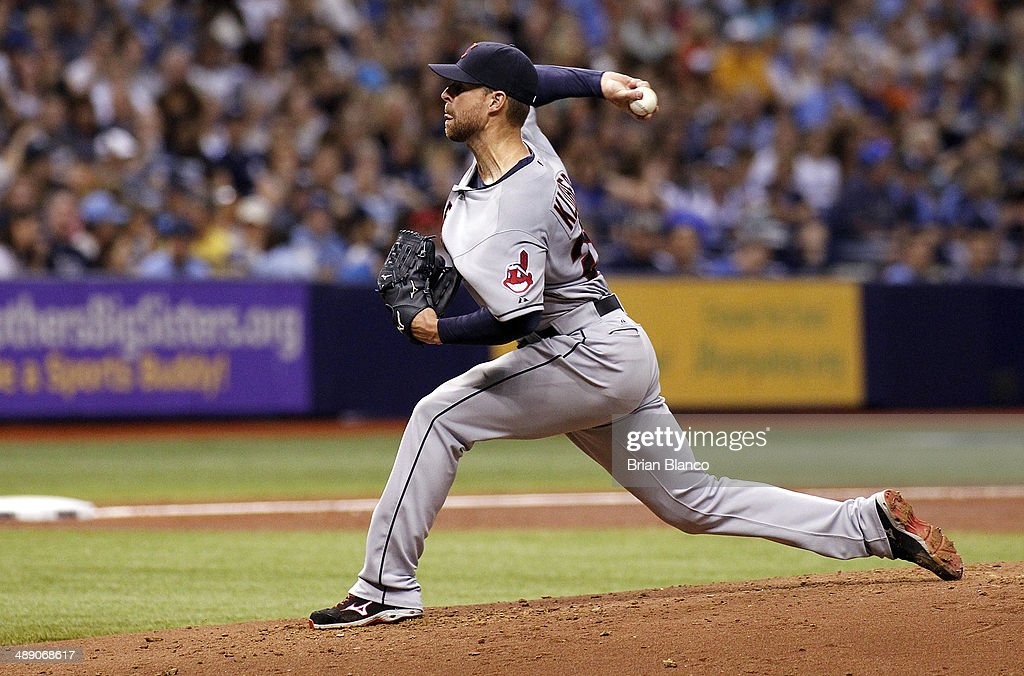 <a gi-track='captionPersonalityLinkClicked' href=/galleries/search?phrase=Corey+Kluber&family=editorial&specificpeople=7513243 ng-click='$event.stopPropagation()'>Corey Kluber</a> #28 of the Cleveland Indians pitches during the third inning of a game against the Tampa Bay Rays on May 9, 2014 at Tropicana Field in St. Petersburg, Florida.