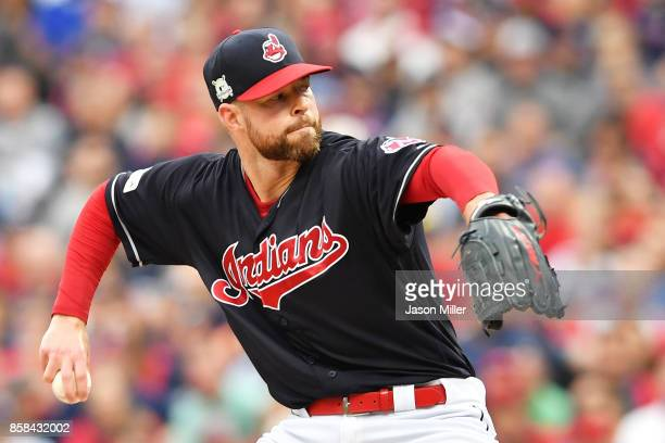Corey Kluber of the Cleveland Indians pitches first inning against the New York Yankees during game two of the American League Division Series at...
