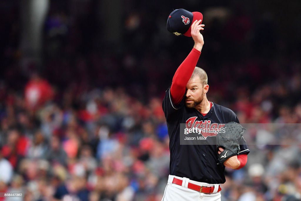 Corey Kluber #28 of the Cleveland Indians reacts in the third inning against the New York Yankees during game two of the American League Division Series at Progressive Field on October 6, 2017 in Cleveland, Ohio.