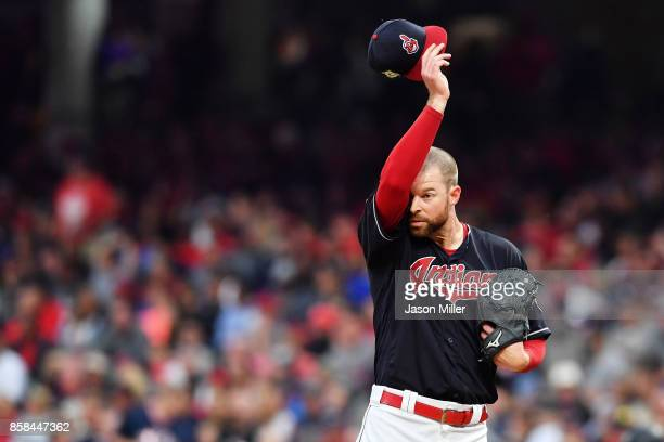 Corey Kluber of the Cleveland Indians reacts in the third inning against the New York Yankees during game two of the American League Division Series...