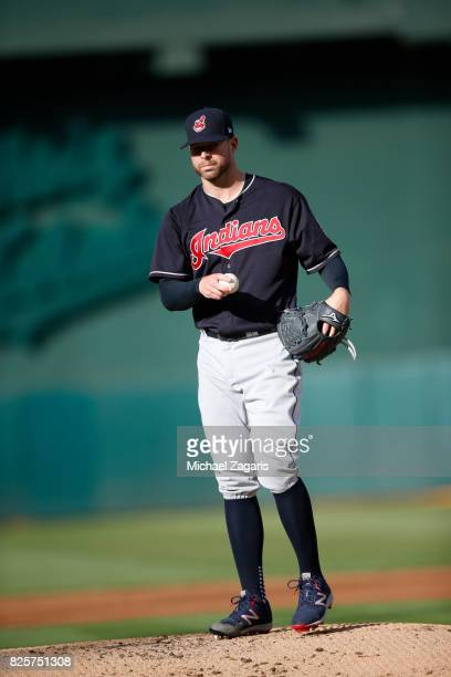 Corey Kluber of the Cleveland Indians stands on the mound during the game against the Oakland Athletics at the Oakland Alameda Coliseum on July 15...
