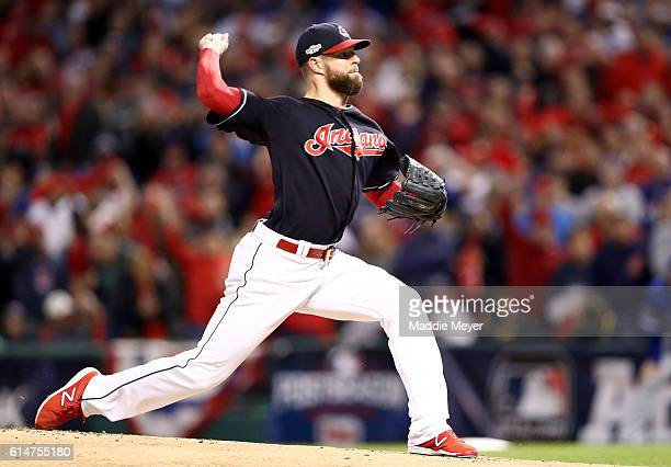 Corey Kluber of the Cleveland Indians throws a pitch in the first inning against the Toronto Blue Jays during game one of the American League...