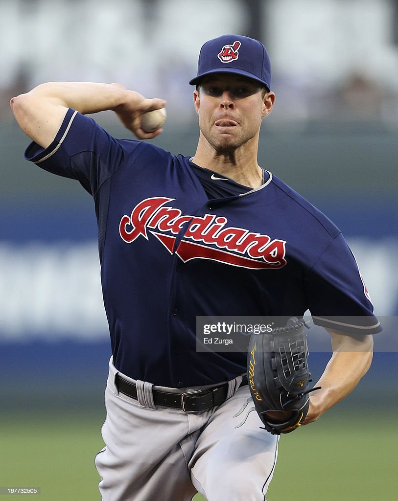 Corey Kluber #28 of the Cleveland Indians throws as he warms up during game two of a doubleheader against the Kansas City Royals at Kauffman Stadium on April 28, 2013 in Kansas City, Missouri.