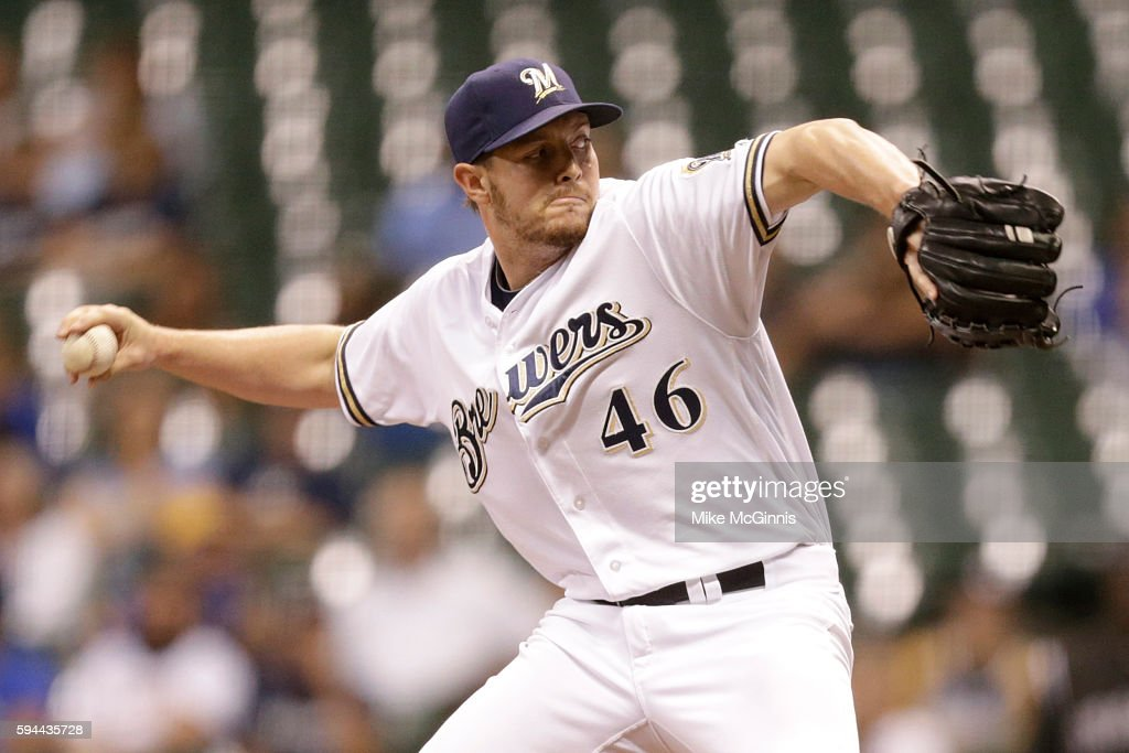Corey Knebel of the Milwaukee Brewers pitches during the ninth inning against the Colorado Rockies at Miller Park on August 23 2016 in Milwaukee...