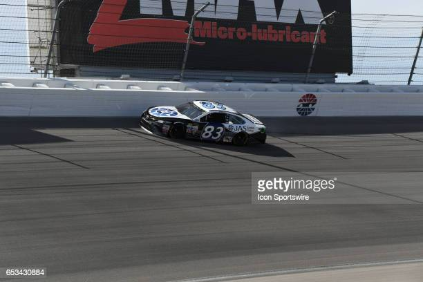 Corey LaJoie BK Racing Toyota Camry crashes into wall during the Monster Energy NASCAR Monster Energy Series Kobalt 400 on March 12 at Las Vegas...