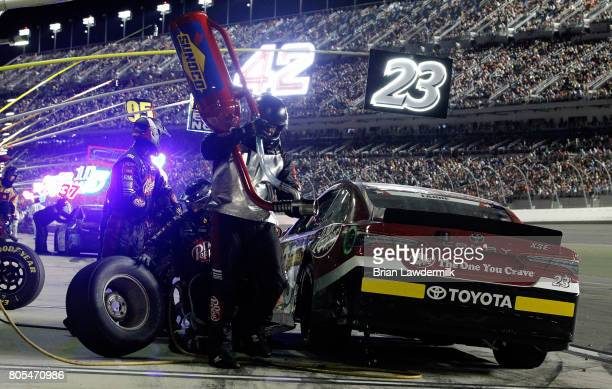 Corey LaJoie driver of the Dr Pepper Toyota pits during the Monster Energy NASCAR Cup Series 59th Annual Coke Zero 400 Powered By CocaCola at Daytona...