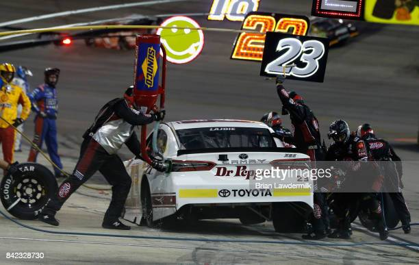 Corey LaJoie driver of the Dr Pepper Toyota pits during the Monster Energy NASCAR Cup Series Bojangles' Southern 500 at Darlington Raceway on...