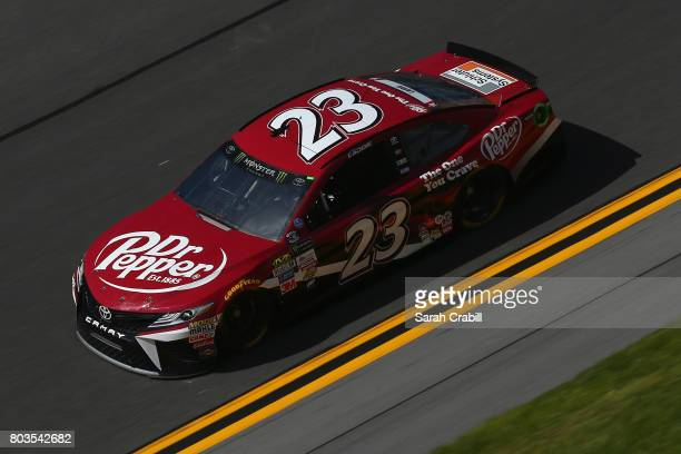 Corey LaJoie driver of the Dr Pepper Toyota practices for the Monster Energy NASCAR Cup Series 59th Annual Coke Zero 400 Powered By CocaCola at...
