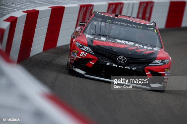 Corey LaJoie driver of the EJ Wade Construction Toyota practices for the Monster Energy NASCAR Cup Series Toyota Owners 400 at Richmond International...