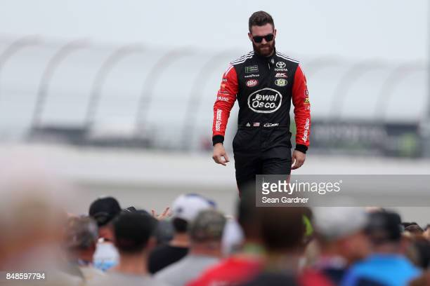 Corey LaJoie driver of the Jewel Osco Toyota is introduced prior to the Monster Energy NASCAR Cup Series Tales of the Turtles 400 at Chicagoland...