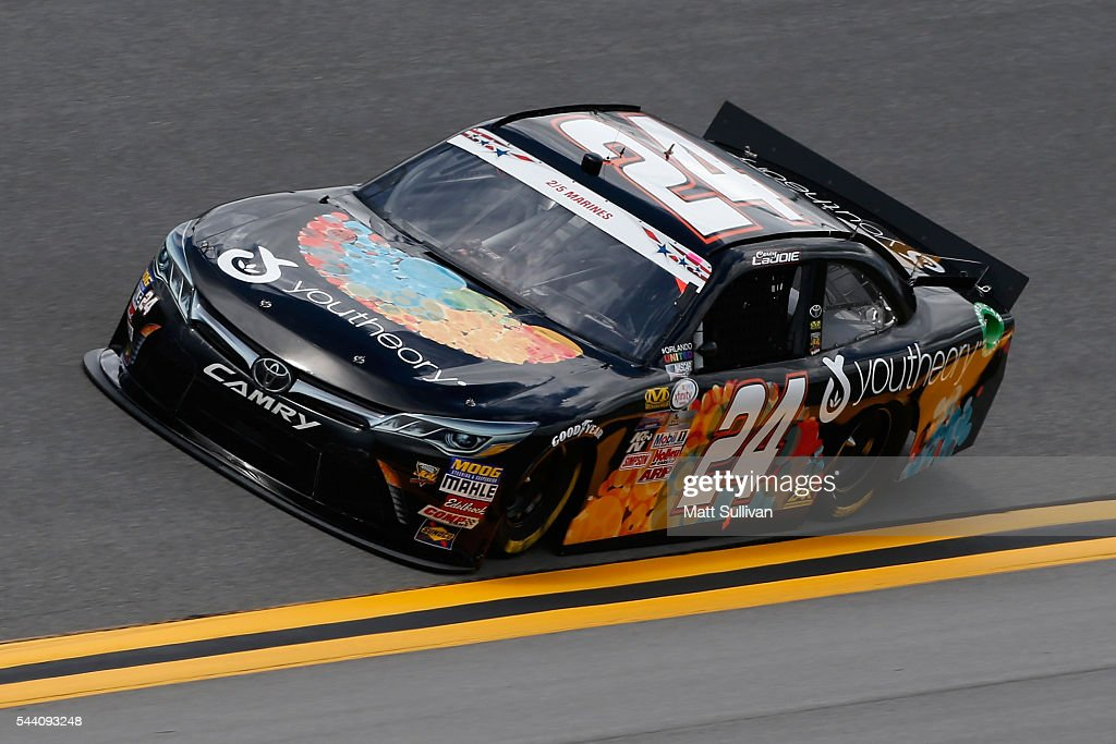 Corey LaJoie, driver of the #24 Youtheory Toyota, races during qualifying for the NASCAR XFINITY Series Subway Firecracker 250 at Daytona International Speedway on July 1, 2016 in Daytona Beach, Florida.