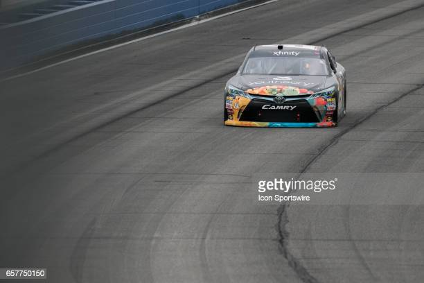 Corey LaJoie driving in the Youtheory Toyota does his two laps during qualifying for the Xfinity Series 19th Annual Service King 300 at Auto Club...