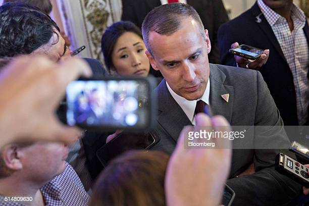 Corey Lewandowski campaign manager for 2016 Republican presidential candidate Donald Trump speaks to members of the media before a news conference at...