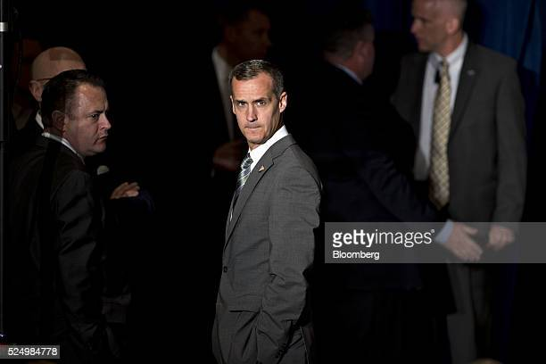 Corey Lewandowski campaign manager for 2016 Republican presidential candidate Donald Trump center waits for a foreign policy address by Trump at the...