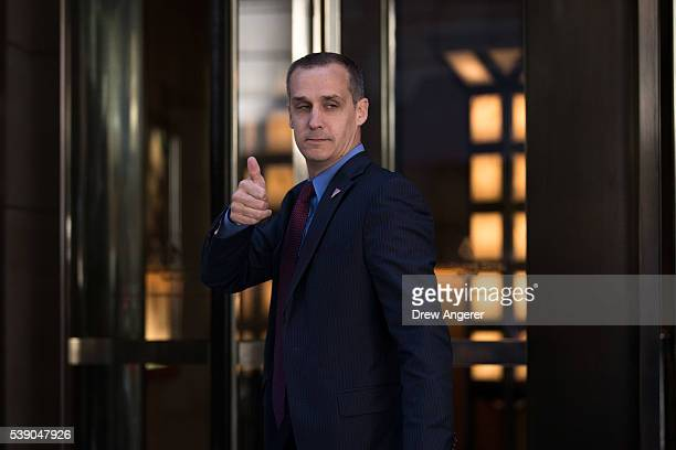 Corey Lewandowski campaign manager for Donald Trump gives the thumbs up as he leaves the Four Seasons Hotel after a meeting with Trump and Republican...