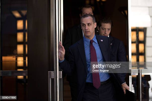Corey Lewandowski campaign manager for Donald Trump leaves the Four Seasons Hotel after a meeting with Trump and Republican donors June 9 2016 in New...