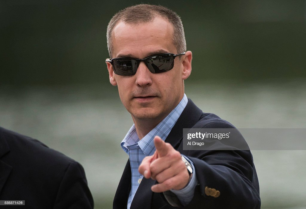 STATES - MAY 29 - Corey Lewandowski, campaign manager for Republican presidential candidate Donald Trump, points as his name is called out on the National Mall during the Rolling Thunder Inc. XXIX 'Freedom Ride,' on Sunday, May 29, 2016 in Washington. The annual bike ride which occurs over Memorial Day weekend, honors U.S. prisoners of war and missing-in-action troops, as well as raises awareness about veterans issues.