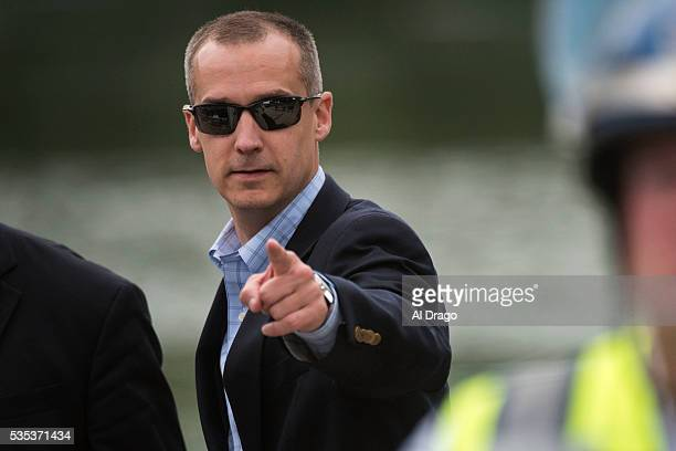 STATES MAY 29 Corey Lewandowski campaign manager for Republican presidential candidate Donald Trump points as his name is called out on the National...