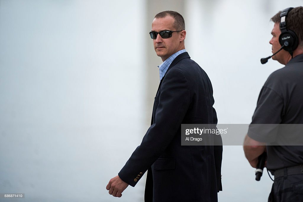STATES - MAY 29 - Corey Lewandowski, campaign manager for Republican presidential candidate Donald Trump, arrives on the National Mall during the Rolling Thunder Inc. XXIX 'Freedom Ride,' on Sunday, May 29, 2016 in Washington. The annual bike ride which occurs over Memorial Day weekend, honors U.S. prisoners of war and missing-in-action troops, as well as raises awareness about veterans issues.