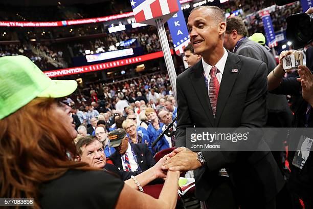 Corey Lewandowski former campaign manager for Donald Trump greets a delegates on the first day of the Republican National Convention on July 18 2016...