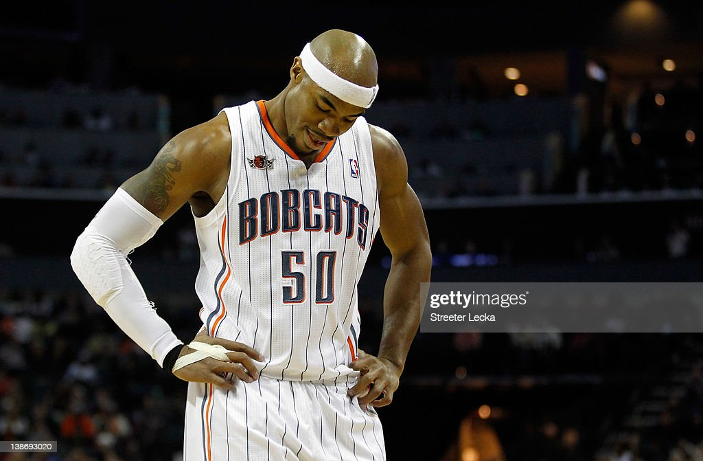 <a gi-track='captionPersonalityLinkClicked' href=/galleries/search?phrase=Corey+Maggette&family=editorial&specificpeople=201596 ng-click='$event.stopPropagation()'>Corey Maggette</a> #50 of the Charlotte Bobcats reacts to a call against the Chicago Bulls during their game at Time Warner Cable Arena on February 10, 2012 in Charlotte, North Carolina.