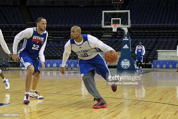 Corey Maggette of the Detroit Pistons dribbles past Tayshaun Prince during practice at the O2 Arena as part of NBA London Live 2013 on January 16...
