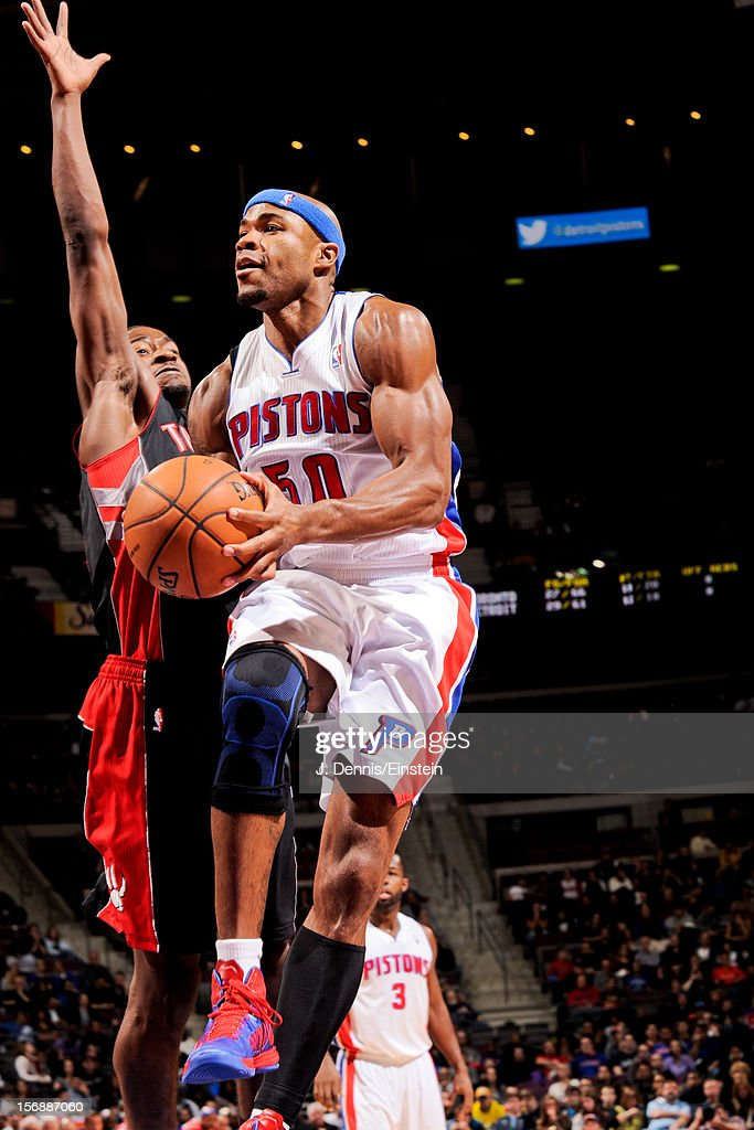 Corey Maggette #50 of the Detroit Pistons drives to the basket against the Toronto Raptors on November 23, 2012 at The Palace of Auburn Hills in Auburn Hills, Michigan.
