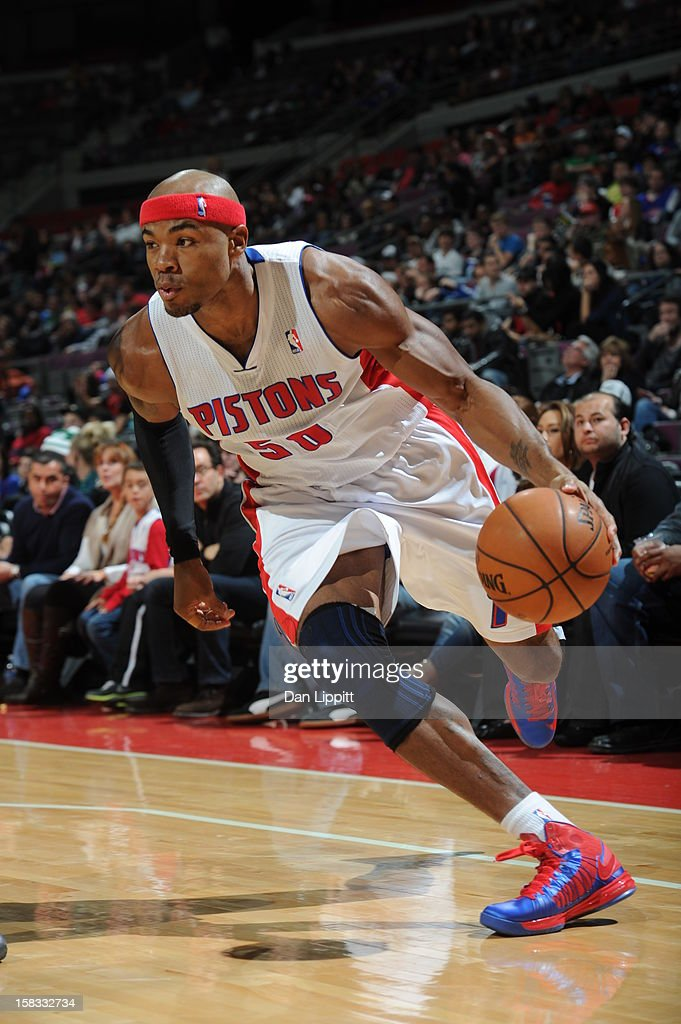 Corey Maggette #50 of the Detroit Pistons drives to the basket against the Boston Celtics on November 18, 2012 at The Palace of Auburn Hills in Auburn Hills, Michigan.