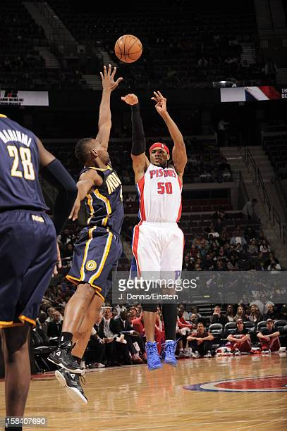 Corey Maggette of the Detroit Pistons knocks down a three point shot against the Indiana Pacers during the game on December 15 2012 at The Palace of...