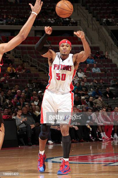 Corey Maggette of the Detroit Pistons sends the ball during the game between the Detroit Pistons and the Portland Trail Blazers on November 26 2012...