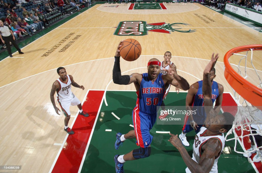 <a gi-track='captionPersonalityLinkClicked' href=/galleries/search?phrase=Corey+Maggette&family=editorial&specificpeople=201596 ng-click='$event.stopPropagation()'>Corey Maggette</a> #50 of the Detroit Pistons shoots against Larry Sanders #8 of the Milwaukee Bucks during the NBA preseason game on October 13, 2012 at the BMO Harris Bradley Center in Milwaukee, Wisconsin.